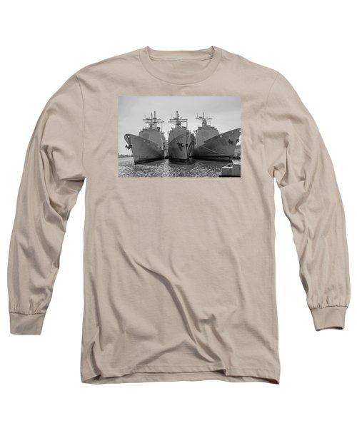 Philadelphia Navy Yard B - W  Long Sleeve T-Shirt by Susan  McMenamin