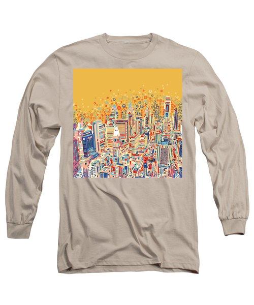 Philadelphia Panorama Pop Art Long Sleeve T-Shirt
