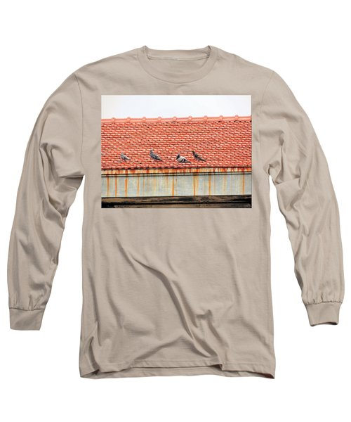 Long Sleeve T-Shirt featuring the photograph Pigeons On Roof by Aaron Martens