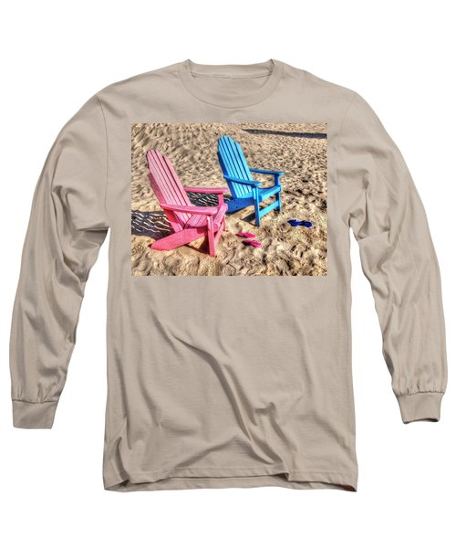 Pink And Blue Beach Chairs With Matching Flip Flops Long Sleeve T-Shirt