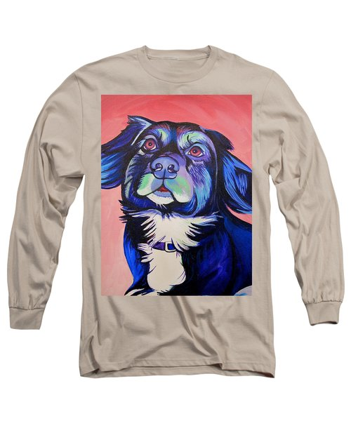 Long Sleeve T-Shirt featuring the painting Pink And Blue Dog by Joshua Morton
