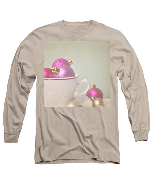 Pink And Gold Christmas Baubles In China Cup. Long Sleeve T-Shirt