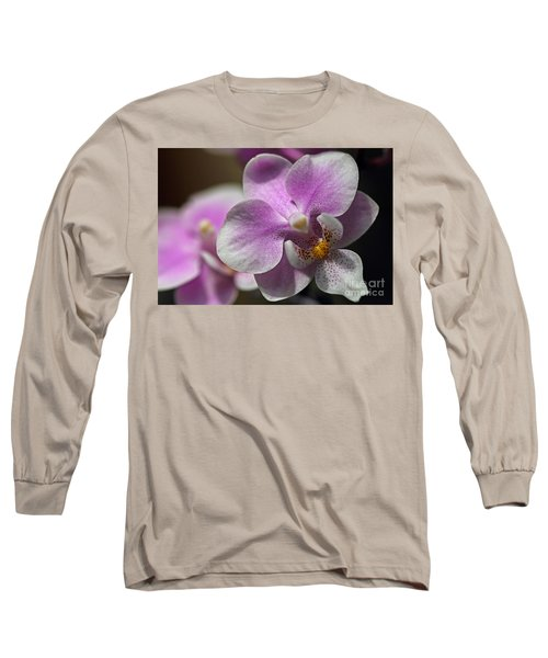 Pink And White Orchid Long Sleeve T-Shirt