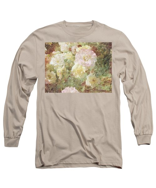 Pink And White Roses With Tapestry Look Long Sleeve T-Shirt