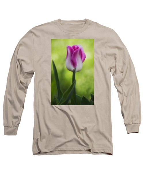 Pink And White Tulip Long Sleeve T-Shirt by Shelly Gunderson
