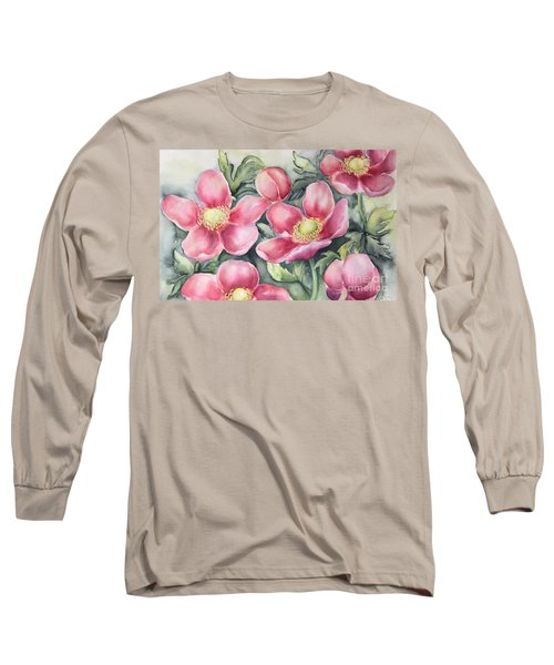 Long Sleeve T-Shirt featuring the painting Pink Anemones by Inese Poga