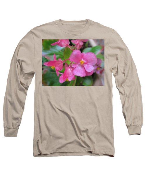 Pink Begonias Long Sleeve T-Shirt by Barbara Yearty
