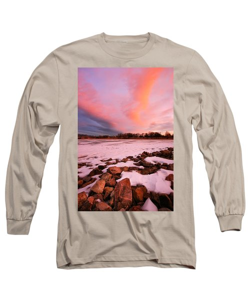 Pink Clouds Over Memorial Park Long Sleeve T-Shirt by Ronda Kimbrow