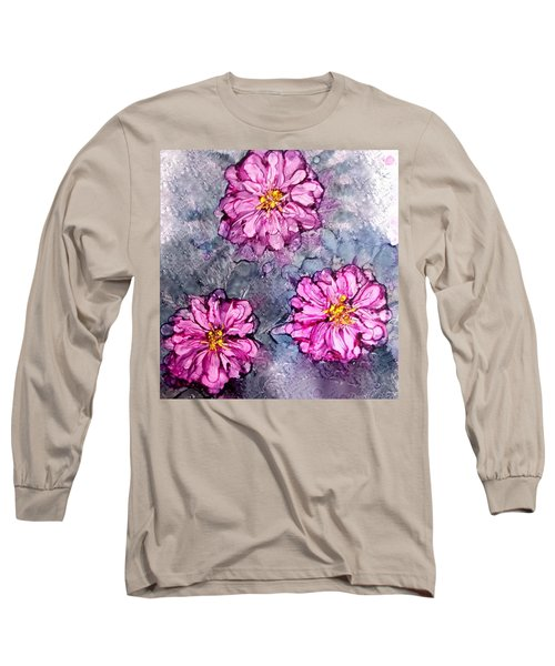 Pink Dahlia Blooms Alcohol Inks Long Sleeve T-Shirt by Danielle  Parent