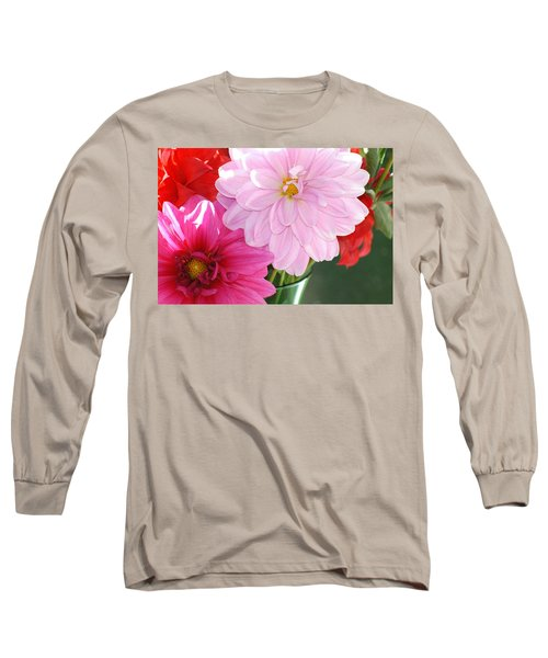 Pink Dahlias In The Morning Long Sleeve T-Shirt