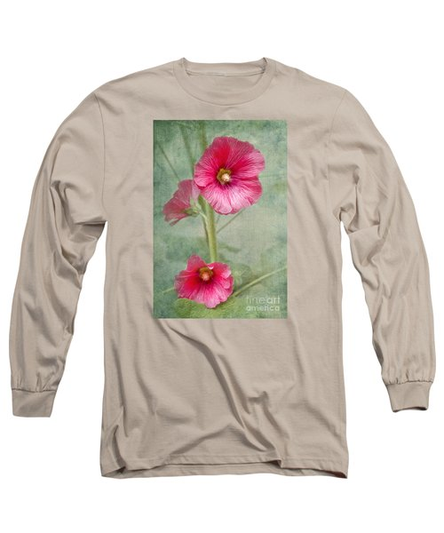 Pink Hollyhocks Long Sleeve T-Shirt