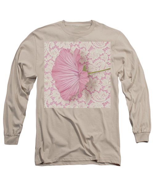 Pink Lavatera Blossom On Vintage Lace - Macro Long Sleeve T-Shirt