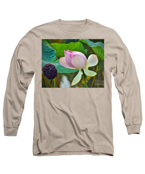 Pink Lotus Long Sleeve T-Shirt by Savannah Gibbs