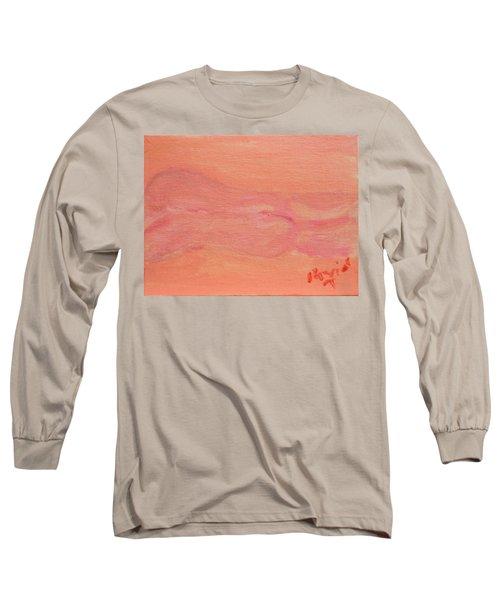 Pink Nude On Orange Long Sleeve T-Shirt