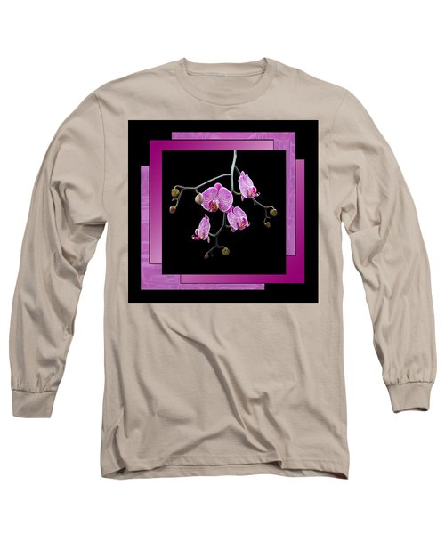 Framed Orchid Spray Long Sleeve T-Shirt by Patti Deters