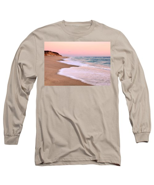 Long Sleeve T-Shirt featuring the photograph Pink Pastel Beach And Sky by Roupen  Baker