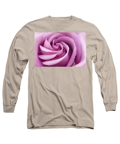 Pink Rose Folded To Perfection Long Sleeve T-Shirt by Sandra Foster