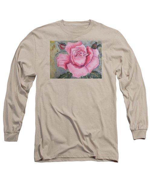 Pink Rose Long Sleeve T-Shirt by Pamela  Meredith