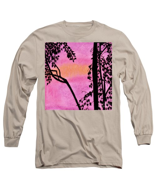 Long Sleeve T-Shirt featuring the drawing Pink Sky Sunset by D Hackett