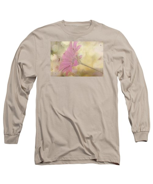 Pink Textured Gazania Long Sleeve T-Shirt