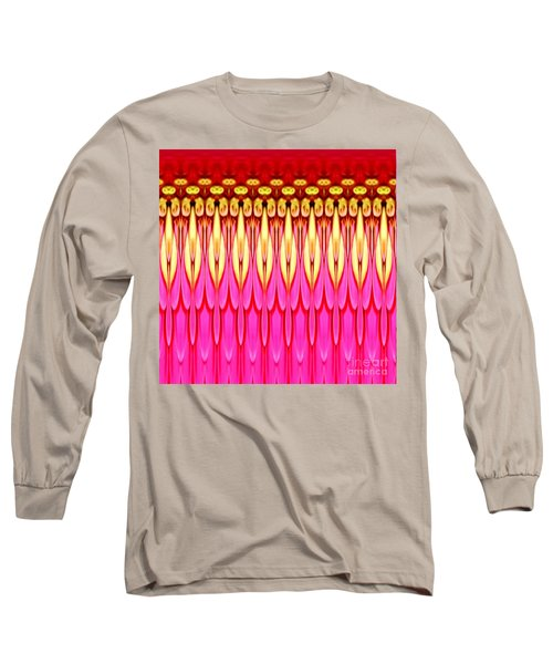 Long Sleeve T-Shirt featuring the photograph Pink Zinnia Polar Coordinate by Rose Santuci-Sofranko