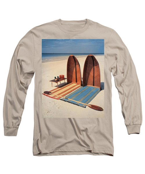 Pixie Collapsible Boat On The Beach Long Sleeve T-Shirt
