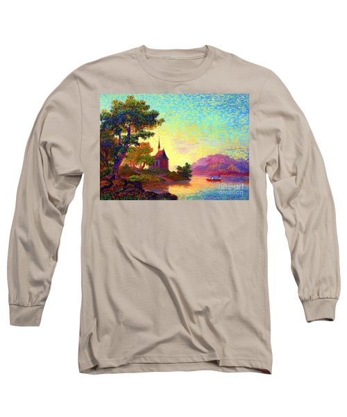 Long Sleeve T-Shirt featuring the painting Beautiful Church, Place Of Welcome by Jane Small
