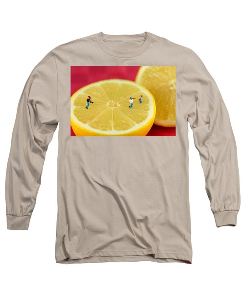 Playing Baseball On Lemon Long Sleeve T-Shirt by Paul Ge