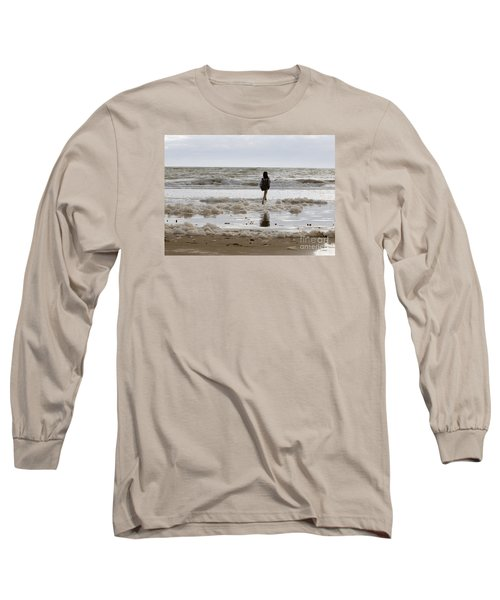 Long Sleeve T-Shirt featuring the photograph Girl Playing In Sea Foam by Haleh Mahbod