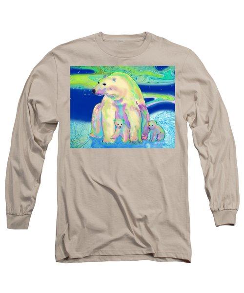 Polar Bear Aurora Long Sleeve T-Shirt by Teresa Ascone