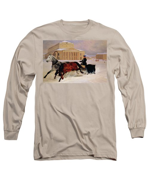 Pole Pair With A Trace Horse At The Bolshoi Theatre In Moscow Long Sleeve T-Shirt