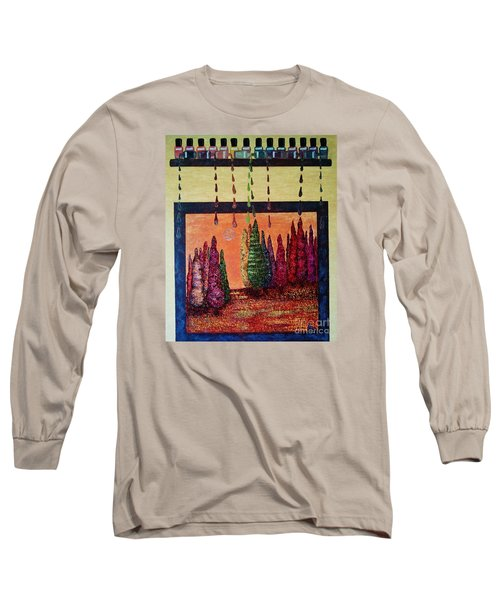 Long Sleeve T-Shirt featuring the painting Polished Forest by Jasna Gopic