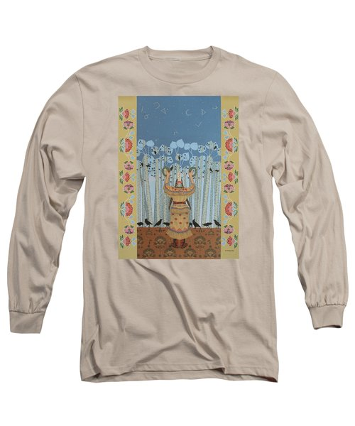 Long Sleeve T-Shirt featuring the painting Pondering Sacred Things - Manitoweyitamowin by Chholing Taha