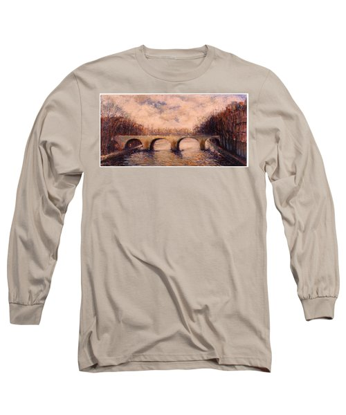 Long Sleeve T-Shirt featuring the painting Pont Sur La Seine by Walter Casaravilla