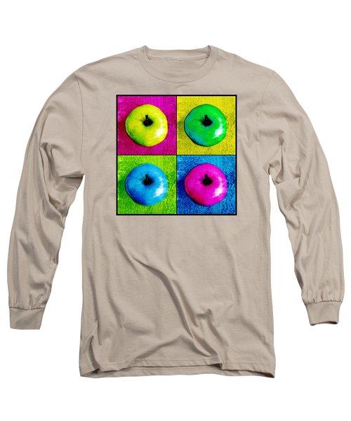 Pop Art Apples Long Sleeve T-Shirt by Shawna Rowe