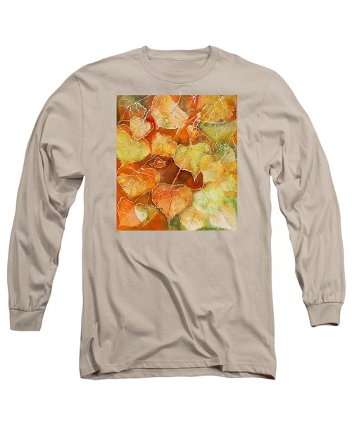 Long Sleeve T-Shirt featuring the painting Poplar Leaves by Susan Crossman Buscho