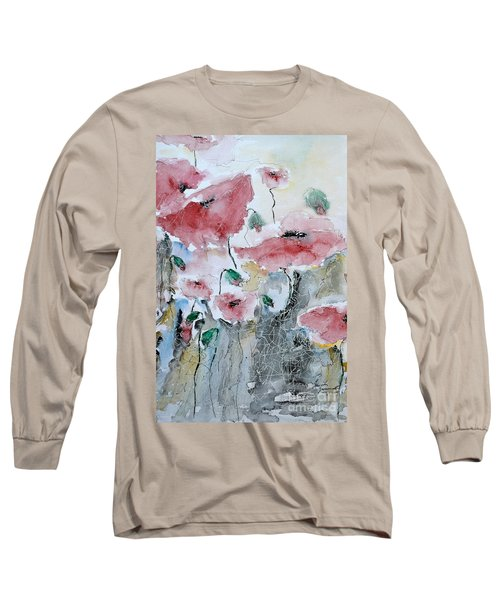 Long Sleeve T-Shirt featuring the painting Poppies 01 by Ismeta Gruenwald