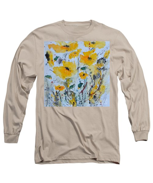 Long Sleeve T-Shirt featuring the painting Poppies 03 by Ismeta Gruenwald