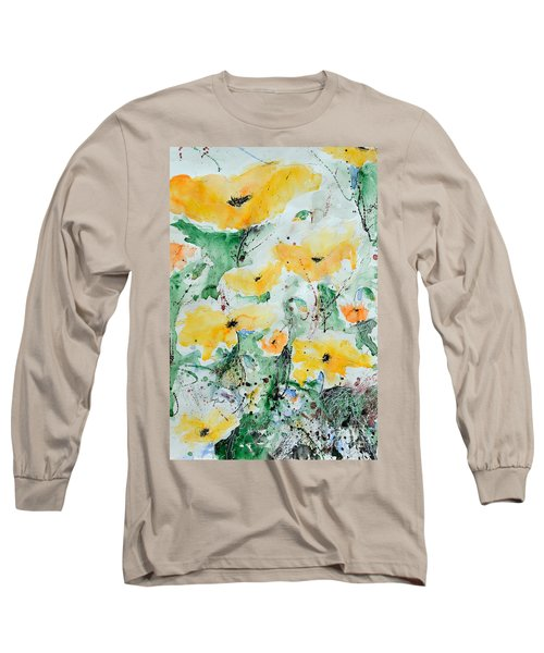 Long Sleeve T-Shirt featuring the painting Poppies 07 by Ismeta Gruenwald