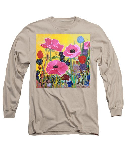 Poppies And Time Traveler Long Sleeve T-Shirt