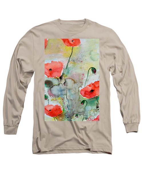 Poppies - Flower Painting Long Sleeve T-Shirt by Ismeta Gruenwald