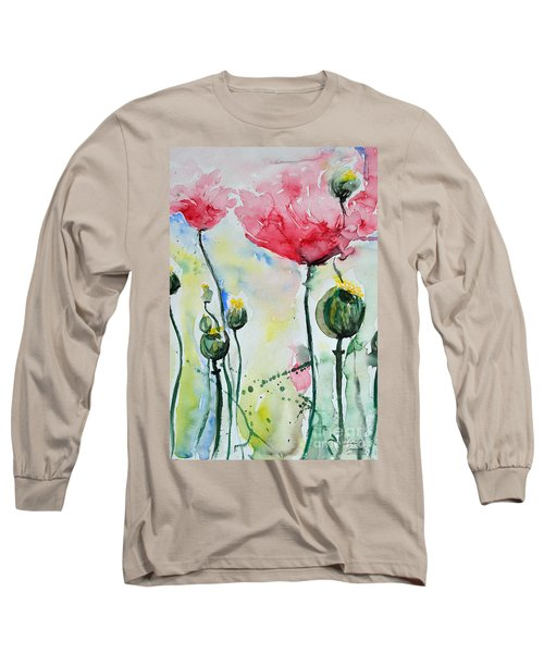 Long Sleeve T-Shirt featuring the painting Poppies by Ismeta Gruenwald