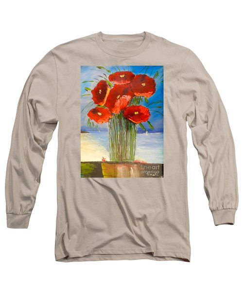 Long Sleeve T-Shirt featuring the painting Poppies On The Window Ledge by Pamela  Meredith