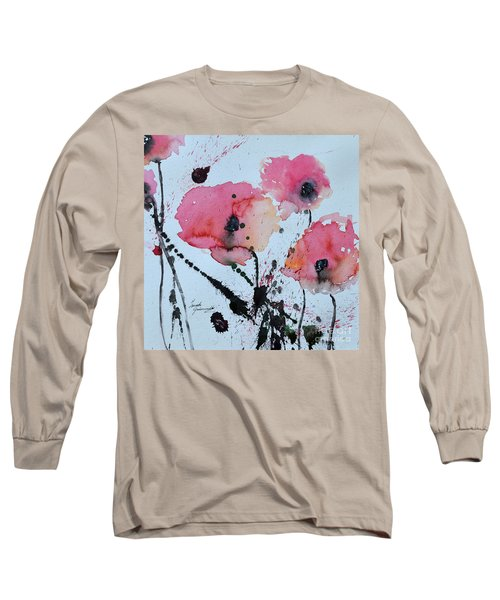 Long Sleeve T-Shirt featuring the painting Poppies- Painting by Ismeta Gruenwald