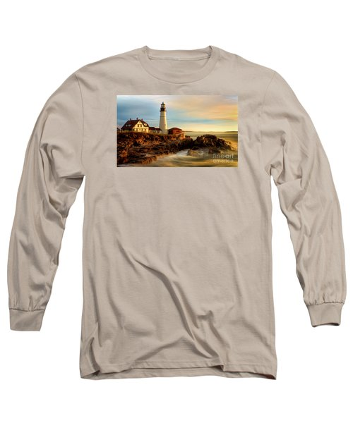 Portland Head Lighthouse At Dawn Long Sleeve T-Shirt by Jerry Fornarotto