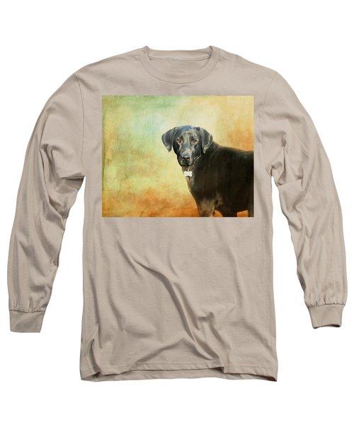 Portrait Of A Black Labrador Retriever Long Sleeve T-Shirt