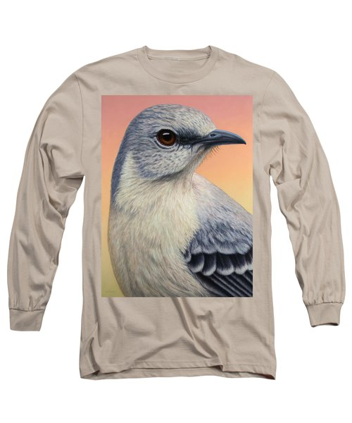 Portrait Of A Mockingbird Long Sleeve T-Shirt by James W Johnson