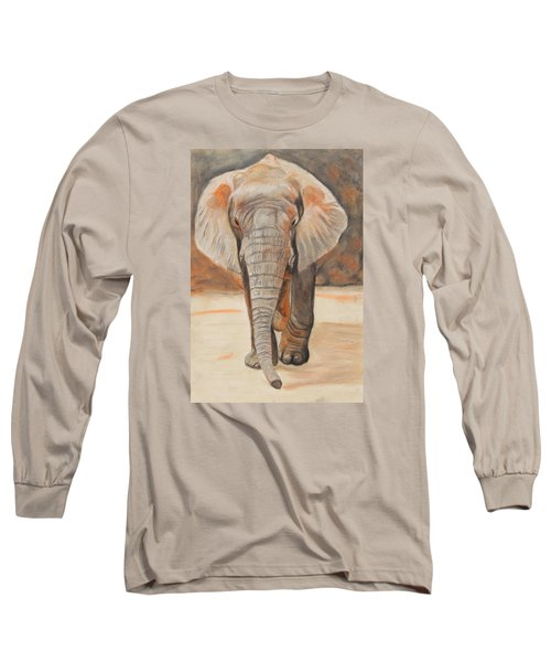 Portrait Of An Elephant Long Sleeve T-Shirt by Jeanne Fischer