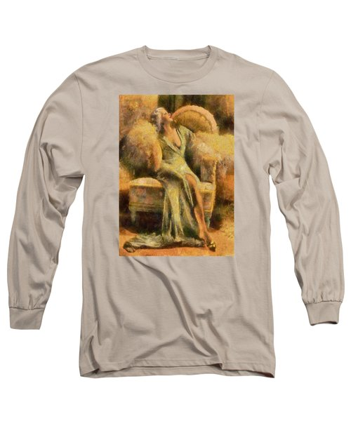 Portrait Of Jean Harlow Long Sleeve T-Shirt by Charmaine Zoe