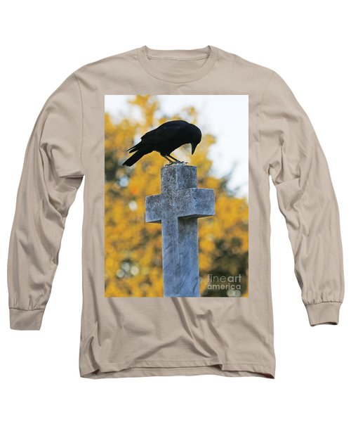 Praying Crow On Cross Long Sleeve T-Shirt